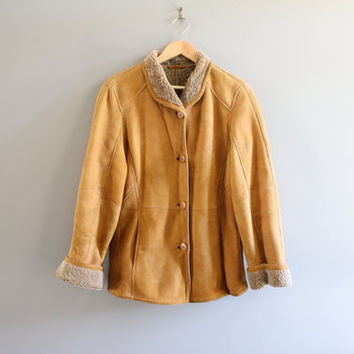 Genuine Leather Shearling Coat Slouchy Tan Brown Suede Jacket Lambskin Coat Boho Hippie Vintage 80s Size L  #O202A