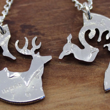 Buck and Doe Necklace, Keychain, Interlocking Jewelry, Engaged Couple, Cut Coin Jewelry