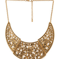 FOREVER 21 Filigree Bib Necklace Antic Gold One