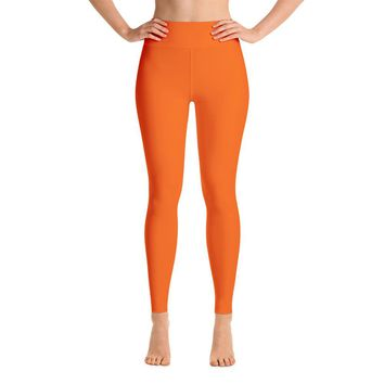 Solid Orange Yoga Leggings