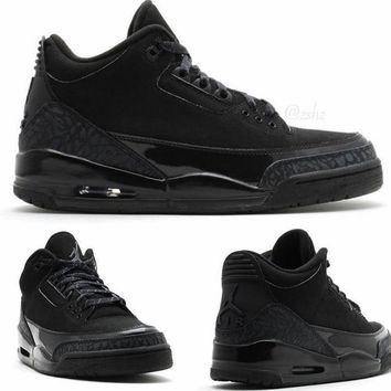 BC QIYIF Nike Air Jordan Retro 3 Black Cat Black 136064-011 2017 2018 Adult and GS PRE ORDER