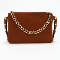 Brown Chain Leatherette Fanny Pack