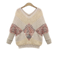 Long Sleeve Fashion Mosaic Knit Sweater