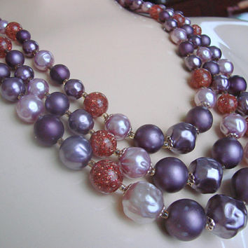 Mid Century Lucite Bib Bead Necklace * Japan * Purple * Lavender * Faux Pearl * Faux Amber * Vintage Jewelry * Jewellery