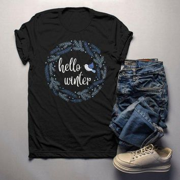 Men's Winter Wreath Shirt Hello Winter Shirts Beautiful Wreath T Shirt Bluebird Shirt Cute Winter Outfit