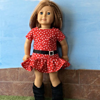 18 Inch Doll Clothes, Doll Dress, Red Polka Dot Dress with Black Trim,  fits 18 inch Dolls such as American Girl Dolls, Summer Doll Clothes