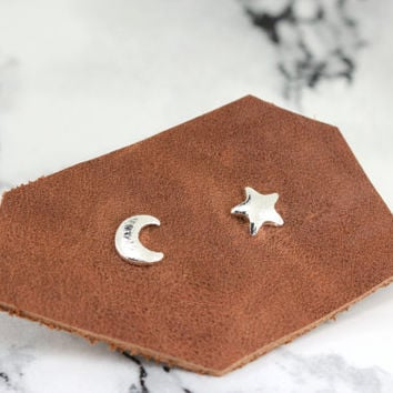 tiny star and crescent moon stud earrings, silver plated