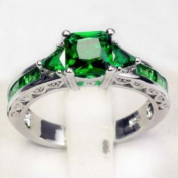 Emerald Topaz Gemstone Jewelry Fashion 925 Sterling silver Wedding/ Party Rings Sz 6/7/8/9/10