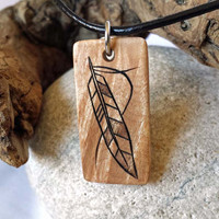 Tribal Feather Necklace, Maple Wood Pendant, Feather Pendant, Rustic Jewelry, Leather Necklace