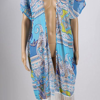 Light Blue Fringed Printed Cover-Up