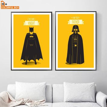 Batman Dark Knight gift Christmas Batman Star Wars Wall Art Canvas Painting Nordic Posters And Prints Cartoon Wall Pictures For Living Room kids Room Home Decor AT_71_6
