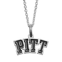 Fiora Sterling Silver Pitt Panthers Team Logo Pendant Necklace (Grey)