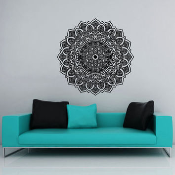 Wall Decal Vinyl Sticker Decals Art Home Decor Mural Mandala Ornament Indian Geometric Moroccan Pattern Yoga Namaste Lotus Flower Om AN565