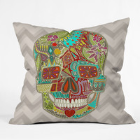 Sharon Turner Flower Skull Outdoor Throw Pillow