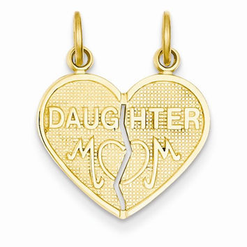14k Yellow Gold Break-apart Mom Daughter Charm