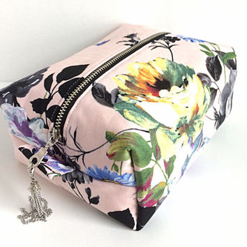 Large Makeup Bag, Boxy Bag, Floral Boxy Bag, Floral Cosmetic Bag, Makeup Organizer