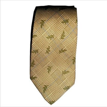 Vintage CHAPS by Ralph Lauren Italian Silk Necktie Unique Leaves Design Necktie. Windowpane Beige Olive Green Silk Necktie -