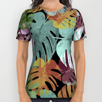 Monstera Night Glory All Over Print Shirt by mirimo