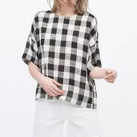 Plaid Sleeve Button Back Blouse