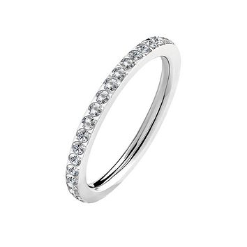 Boundless Love - Women's Stainless Steel Stackable Clear CZ Eternity Ring