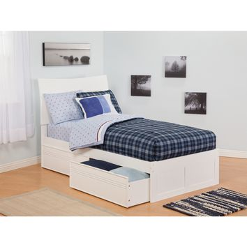 Soho Twin Bed Flat Panel Footboard Urban Bed Drawers White Finish