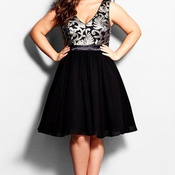 Plus Size Women's City Chic 'Sequin Desire' V-Neck Cocktail Dress,