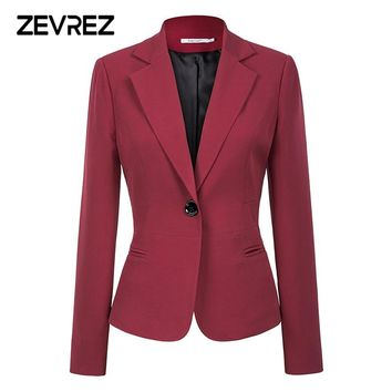 Wine Red Black Women Blazers And Jackets 2018 New Autumn Fashion Single Button Blazer Femenino Office Ladies Blazer Coat Zevrez