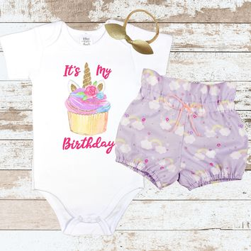 Cupcake Unicorn Birthday Outfit | Purple Rainbow High Waisted Bloomers Outfit with Cupcake Unicorn Bodysuit