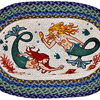 Mermaid Oval Natural Jute Braided Rug