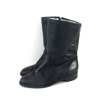 80s winter boots. black leather BLONDO boots. snow boots w wool lining. womens size 11