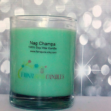 Nag Champa Scented Vegan Soy Wax Jar Candle, Aqua 12 oz Glass Tumbler Glass Style Soy Candle
