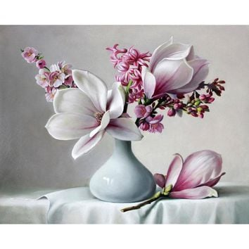 CHENISTORY Frameless Magnolia DIY Painting By Numbers Kits Acrylic Paint On Canvas Flowers Modern Wall Art Picture For Home Arts