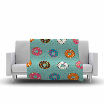 "Juan Paolo ""Doughnut Brigade"" Food Teal Fleece Throw Blanket"
