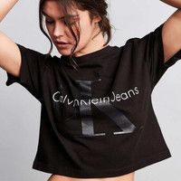 """Calvin Klein"" Fashion Casual Simple Female Letter Print Loose Short Sleeve T-shirt Tops"