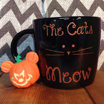 The Cats Meow - Large Black 18 oz Coffee Tea Cup Soup Bowl, Coffee, Hot Coca Mug - Personalize yours! Perfect for the FALL