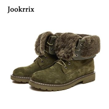 Jookrrix Winter New Western Style Fashion Boots Genuine Leather Shoes Women Camel Lady Warm Shoe Cross-tied Black Martin Boots