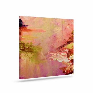 "Ebi Emporium ""Winter Dreamland 3"" Pink Orange Canvas Art"