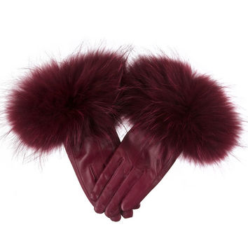 Leather Gloves Plum