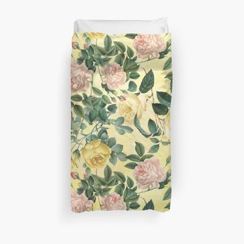'Yellow Summer Rose Garden' Duvet Cover by UtArt