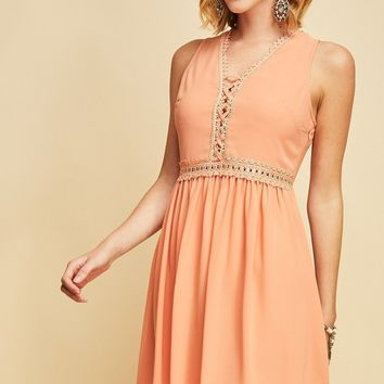 Peach  Crochet Lace Up Empire Dress