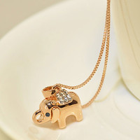 Sweet Cute Rhinestone Elephant Pendant Necklace