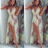 Sleeveless Prom Dress Print V-neck Dress One Piece