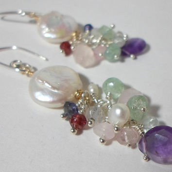 White Coin Pearls with Mixed Gemstone Clusters, Boho Chic, Handmade Earrings, Birthstone Jewelry, HipChickJewelry