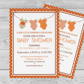 Onesuit Pumpkin Baby Shower Invitation Template - 5 x 7 Onesuit Baby Shower Invitations Editable PDF Templates - DIY Printable - DIY You Print