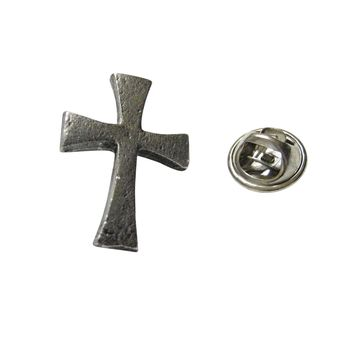 Silver Toned Textured Cross Lapel Pin