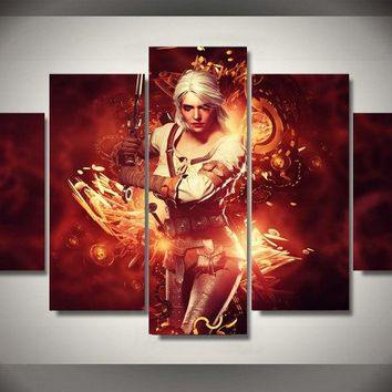 5 Pcs HD Game Poster the Witcher Wild Hunt Canvas Painting On The Wall Pictures For Living Room Unframed Modular Oil Pictures