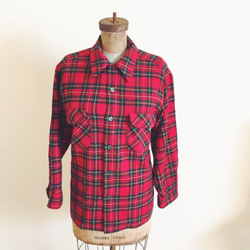 Vintage, 1960s Red Plaid Wool, Long Sleeve, Pendleton, Two Pocket Flannel Shirt, Mens Medium, Unisex Tartan