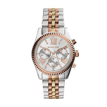 DCCK2JE Michael Kors Women's Lexington Triology Watch, Rose Gold/Silver/Yellow Gold, One Size