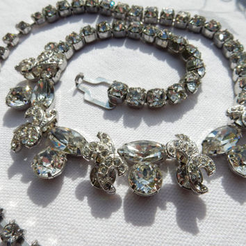 Bridal Necklace Rhinestone Jewelry Weiss Rhinestone Necklace Hollywood Regency Mid Century Glamour Signed Weiss