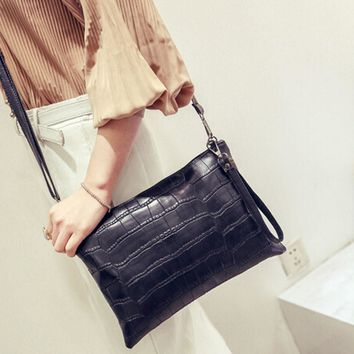 Fashion Women Handbag Zipper Stone Pattern Leather Cross Body Shoulder Bag Vintage Messenger Bag Bolsas De Ombro *7726